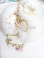 2015 New ArrivalCute Free fashion car handbag keychain bag charm brand leather bear key ring holder novelty item kawaii gift
