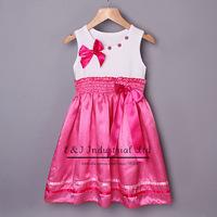 Retail New Summer Girls Dresses Round Dot Party Dresses Bow Rhinestone Dresses Girl Causal Kids Wear