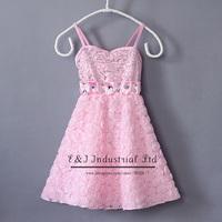 Retail New Summer Girl Dress Pink Sequins Chiffon Princess Dresses Rhinestone Belt Party Dress Children Wear Kids Clothes