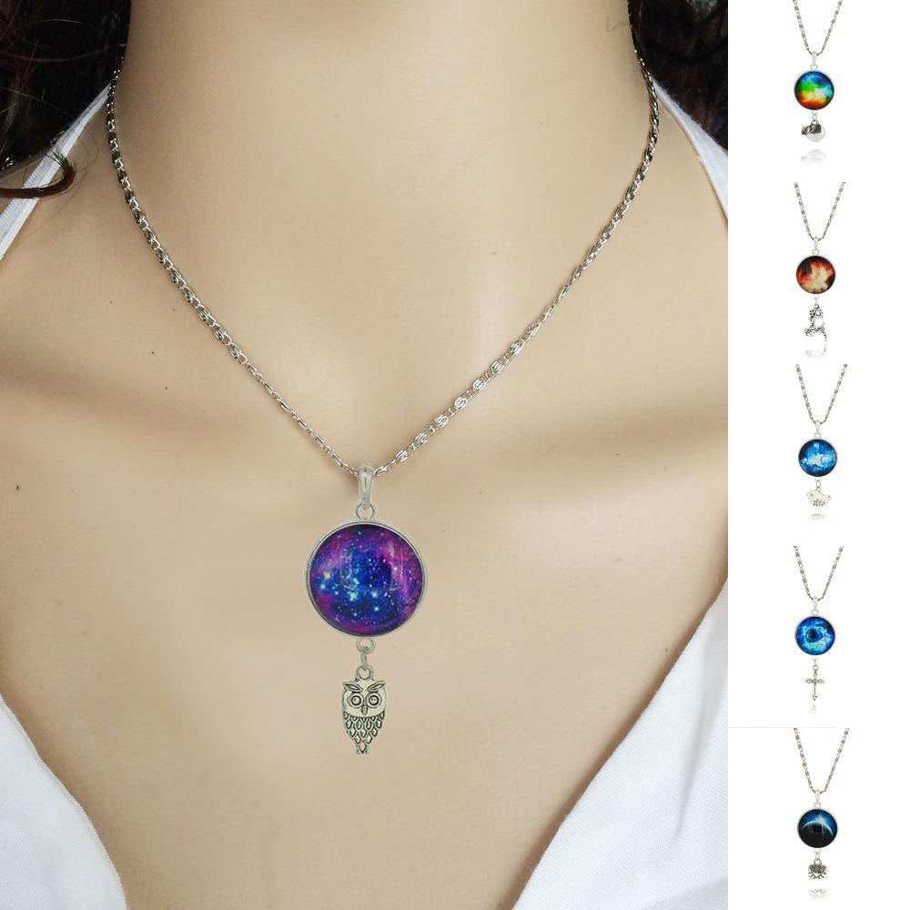 Brand Fashion Jewelry Pendant Silver Chain Galaxy Necklace Choker Necklace Glass Galaxy Lovely & Pendant 2015 AliExpress Sale(China (Mainland))