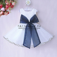 Retail  2015 Wedding Girl dresses White Polyester Rose Dresses Girl Party Dress With Blue Big Bows Kids Clohtes  GD40514-4