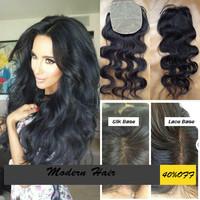 Silk Base Closure Brazilian Hair Body Wave 4x4 100% Human Hair No Shedding No Tangle With Shipping Free 8-24 inch  130% Density