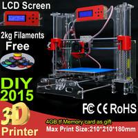 2015 NEW Prusa i3 Desktop DIY 3D Printer machine Acrylic Frame LCD Screen impressora 3D Printer Kit Reprap with 2Kg Filament