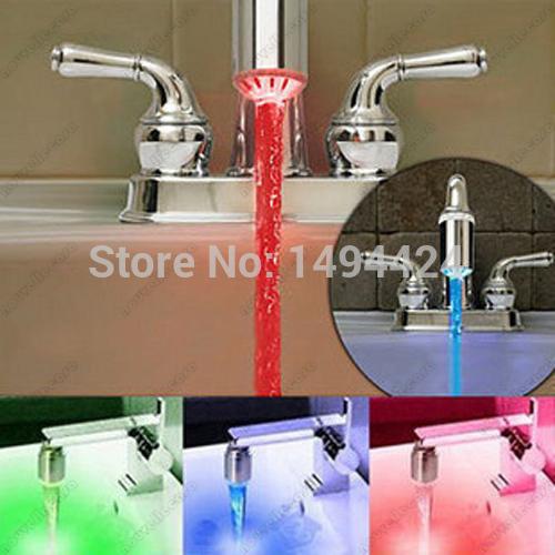 Mini LED Light Water Stream Faucet Tap Bathroom Kitchen Shower Basin Nozzle 3 Colors Change RGB Glow Temperature Sensor Sensing(China (Mainland))