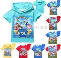 retail  boys girls unisex ROBOCAR T-shirt / kids summer T-shirt / children  clothes tops tee