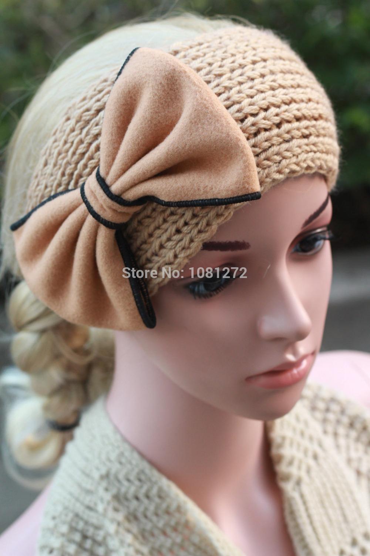 (20pieces/lot) Wholesale Nice Womens Big Bowknot Knit Headband Soft black knit turban headband,Fall and winter hair accessory(China (Mainland))