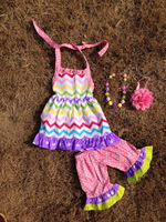 2015 new easter chevron pant set outfits with matching necklace and headband