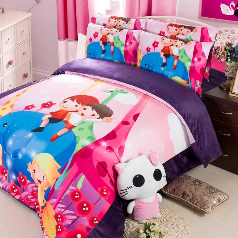 bedding coral velvet Duvet Cover Sets Kids quilt cover Set bed linen for children Twin Queen king bedroom Home textile(China (Mainland))