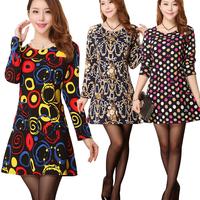 2015 Spring Vestidos Casual Dress O-neck Slim Long Sleeve Tropical Women Dress Plus Size 5XL Vintage Print OL Dress 888