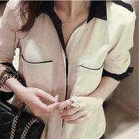 blusas camisas femininas 2015 New Lapel Long-Sleeved Loose Chiffon Blouse Shirt  Casual Plus Size Women Blouses renda tops B0198