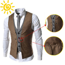 2015 Fashion Men Vest High quality Brand Mens Casual V-necked  Mixed Colors Slim Fit Vests 6 Color(China (Mainland))
