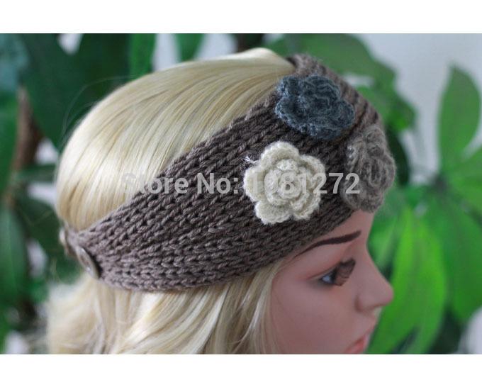 Three Flowers Khaki Knit Headband,,Cute Turban Headband,Earwarmer, Head wrap,headband pattern,Fall and winter hair accessory(China (Mainland))