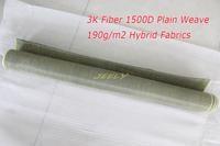 Carbon 3K Fiber Aramid 1500D Plain Weave 190g/m2 Hybrid Fabrics Carbon Aramid Yarn Woven Car Parts Panels Canoe Kayak Cloth 1m2