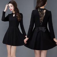 Party Dress 2015 Casual Vestidos Women Dress O-neck Lace Long Sleeve Slim Plus Size A-line Dress Solid Mini Evening Party Dress
