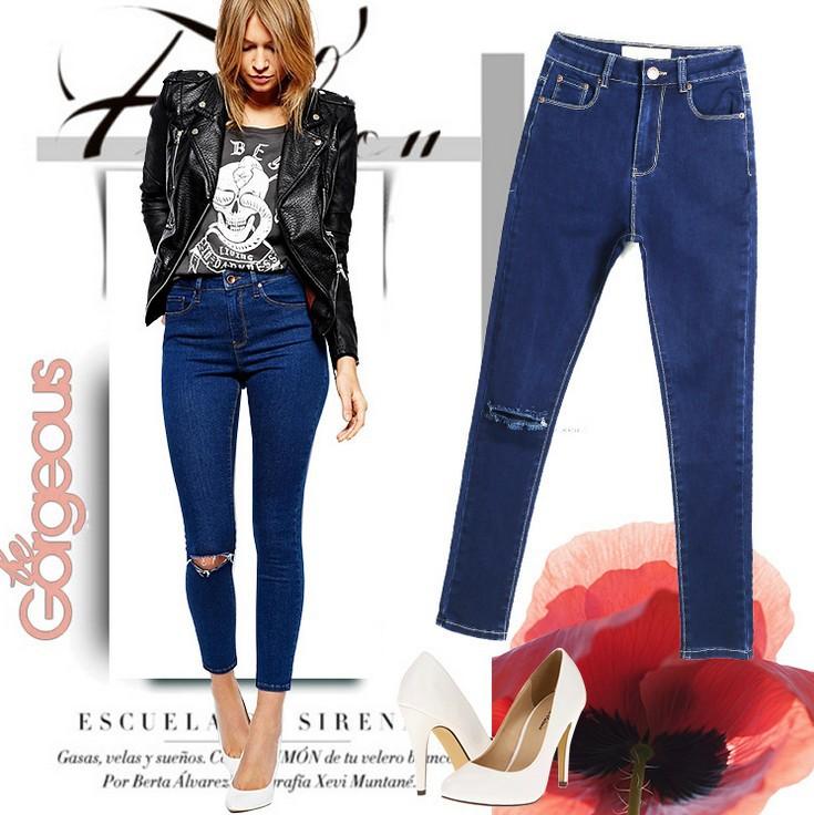 1883 2015 Hot Fashion Ladies Cotton Denim Pants Ripped calca knee Women High Waist Jeans Elastic Skinny Jeans Feminino Feminina(China (Mainland))