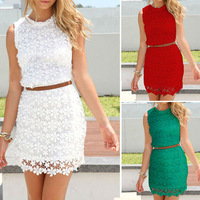 Women Summer Dress 2015 Vestido De Renda White Lace Sleeveless Tank Casual Mini Dresses Vestidos Roupas Femininas XXL WQW689