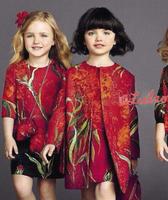 Super quality! 2015 fashion brand girls dress with floral, European designer sleeveless elegant clothing for baby girls.