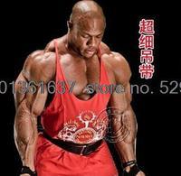 Free shipping Lycra stretch cotton thin straps genuine professional bodybuilding fitness training vest Men's Movement GYM tank