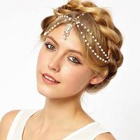 Romantic Bohemia Style Bead Head Chain Women Vintage Crystal Stone Hair Jewelry Drop Pendant Band Headdress Headwear for Bride