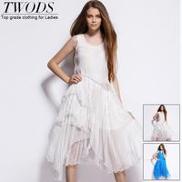 Twods 2015 new women summer dress white breach dress sleeveless O-neck long A-line real silk dress high quality women clothing