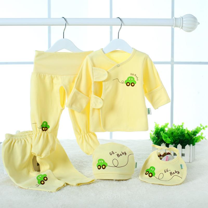 2015 Fashion Brand Baby Clothing Cotton Newborn infant boy Girls Clothes Sets (Tops+Hat+Pants)5Pcs/set roupas bebes babies(China (Mainland))