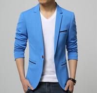 Mens Korean slim fit fashion cotton blazer Suit Jacket black blue beige plus size M to 5XL Male blazers Mens coat Wedding dress