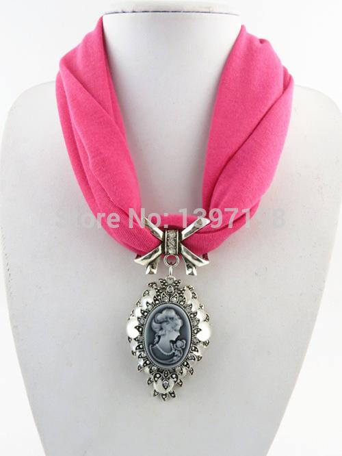 New Fashion Beautiful Rhinestone Cameo Lady Head Pendant Tassels Scarf Soft Cotton Neck Wrap Drop Party Short Scarf For Women(China (Mainland))