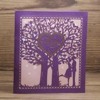 3D Pop Up Laser Cut Art Paper Wedding Card Elegant Lilac Invitation Cards 50pcs a Set Free Shipping