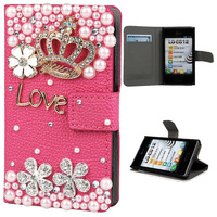 2015 Fashion Luxury 3D Bling Rhinestone Diamond Star Crystal Leather Stand Flip Wallet Cell Phone For LG Optimus L5 E610 E612