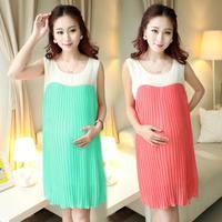 2015 New Summer Pleated Chiffon Maternity Dress Plus Size Vest Clothes for Pregnant Women vestidos roupa gestante 812#