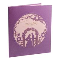 Customized Purple Purple Laser Cut Wedding Ceremony 3D Pop Up Wedding Invitation Cards 50pcs Free Shipping