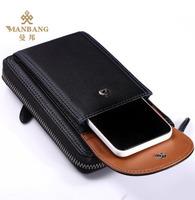 Brand Men phone bags luxury genuine cowskin leather  Purse Fashion designer Black long male wallets  MBQ7010H Free shipping