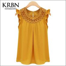 2015 femmes blouses chemises simples de manches vêtements peplum chemise o - cou volants Tops solide évider plus size blouses K8403(China (Mainland))