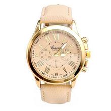 "2015 Fashion Wristwatch Women Large Dial Geneva Women""s Roman Numerals Faux Leather Analog Quartz Watch Free Shipping Tonsee"