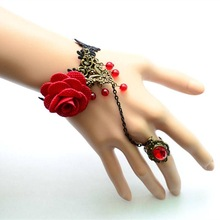 Handemade Vintage Lace Flower Bracelet With Finger Ring Bridal Marriage Jewelry Wristband JBL204