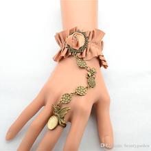 Noble Satin Champange Ribbon Bracelet Retro Wristband Ladies Marriage Jewelry Wrist Accessories JBL207