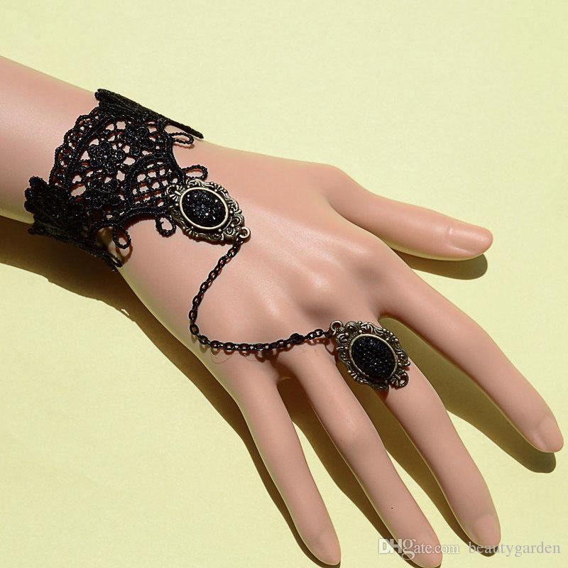 Bride Black Lace Flower Bracelet Retro Gothic Hand Chain Women s Marriage Accessories JBL202