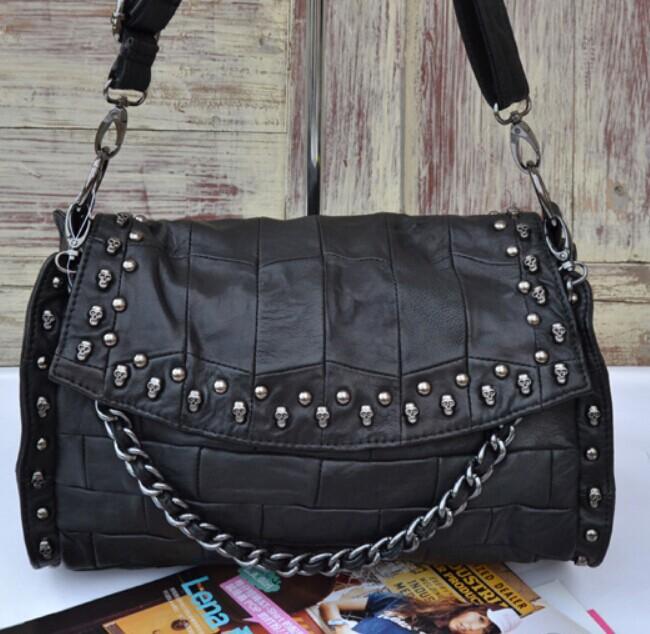 2015 women's genuine leather sheepskin handbag cool skull rivets flip one shoulder bag, cross-body bucket casual handbag.(China (Mainland))