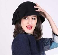 Wholesale 6pcs/Lot 2015 Womens Spring Wool Bucket Hats W/Big Bowknot Lady Autumn Dome Felt Caps Women Winter Trilby Hat China