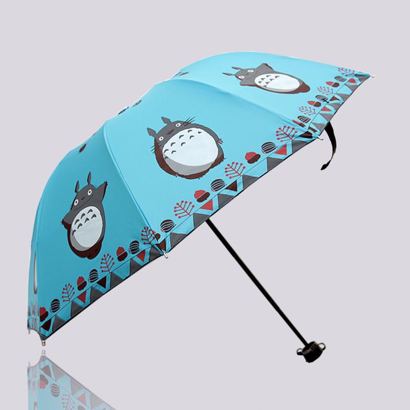2015 Three Folding Hayao Miyazaki Totoro Vinyl Umbrella Sun Umbrellas Fashion Parasol UV Umbrella Rain Women Cartoon Parasol()