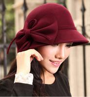 Wholesale 6pcs/Lot Fashion Women Spring Wool Hats W/Large Bowknot Ladies Autumn Dome Felt Cap New Lady Winter Trilby Hat On Line