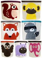 7 Designs Organic Canvas Animal cartoon Kids storage bin/Children's storage box/Big Storing toys Organization Organizer