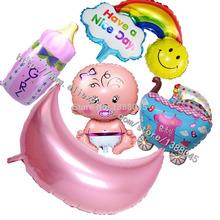5 estilos del bebé decoración de cumpleaños Foil globos bebé leche + del coche del bebé globos chica 1 Year cumpleaños