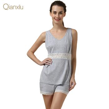 Qianxiu марка пижамы установить летом кружева платье костюм модальные нижнее белье ...