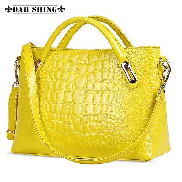 2015 Fashion solid color top cowhide crocodile skin pattern women genuine leather hand bag Tote messenger bag capable iPad mini(China (Mainland))