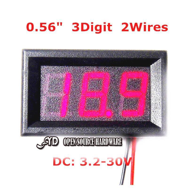 Вольтметр YX 0,56 3.2/30v DC DC 3.2-30V Vehicles Voltage Meter dc 4 5 30v 0 50a двойной красный светодиодный цифровой вольтметр амперметр напряжение питания amp es9p