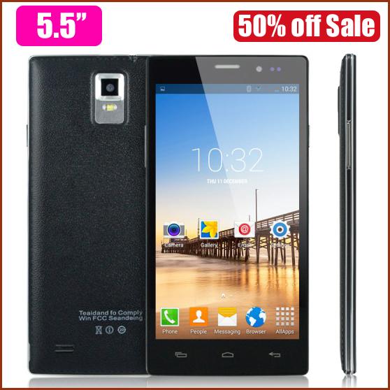 5.5'' Big Screen Mobile Phones Android 4.4 MTK6572 Smartphone Phone Dual Core RAM 512MB + ROM 4GB Unlocked Dual SIM WCDMA GPS(China (Mainland))