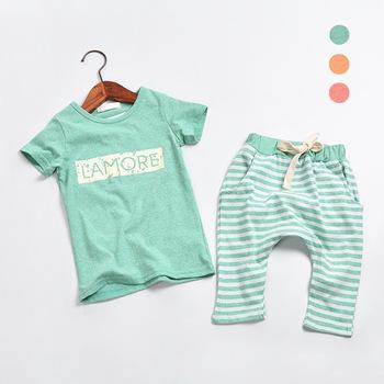 2015 лето детская одежда корейский стиль письмо футболки + полосатые шаровары для ...