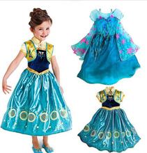 Princess Anna Elsa Dress Cosplay Costume Custom Kids Princess Dress Sequined Cosplay Costume Baby Girls Dress Vestidos Children(China (Mainland))