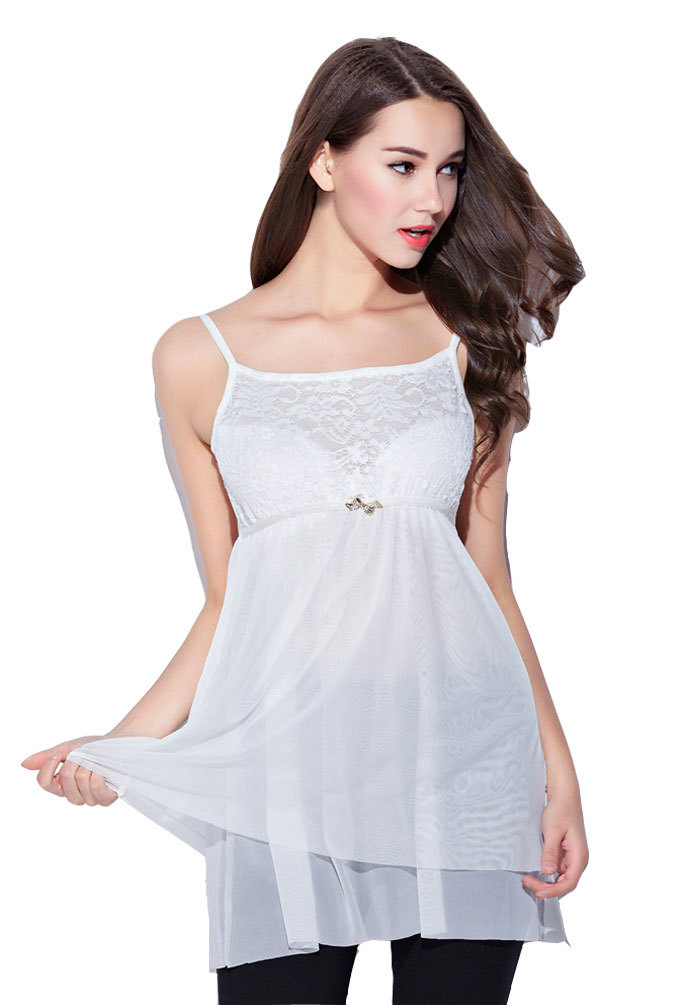 Women's Camisole Spaghetti Strap Multilayer Mesh Embroidery Lace Bowknot Suit for XS-M Black White(China (Mainland))
